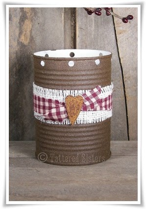 Grungy rusty tin luminary tattered sisters primitives for Tin cans for crafts