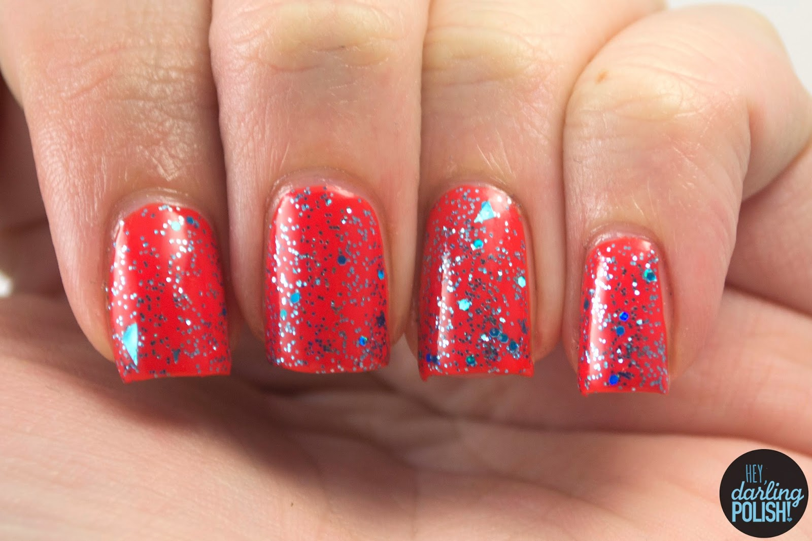 shotgun wedding, nails, nail polish, polish, indie, indie polish, indie nail polish, shirley ann nail lacquer, glitter, blue, hey darling polish