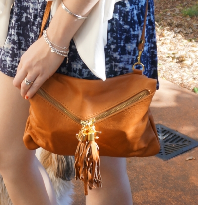 Avalina Leather Audrey clutch in cognac tassels