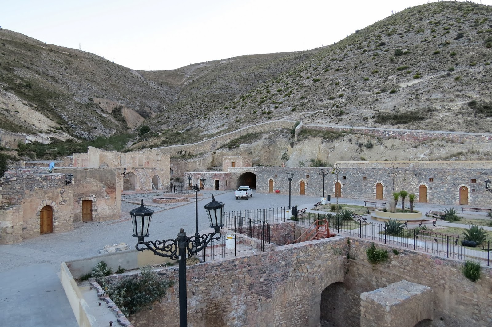 The Real de Catorce tunnel entrance, photo taken standing on the roofof our truck