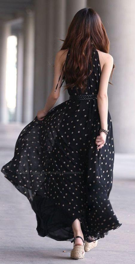 Gorgeous black polka dot maxi dress fashion