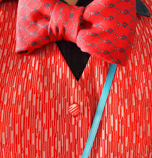 bow tie red and white vest pattern play mixed prints Alice in Wonderland White Rabbit