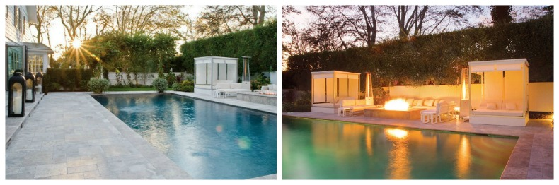 East Hampton poolside cabanas