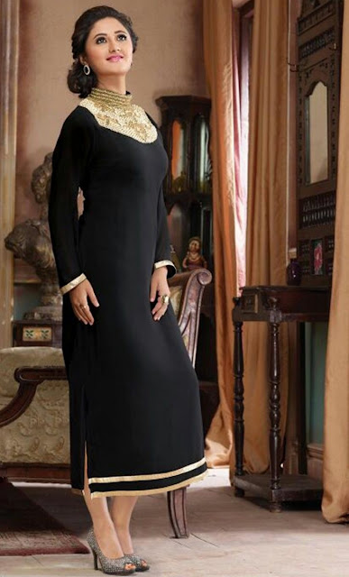Black Chanderi Embroidered Desinger Kurti for Wedding Wear