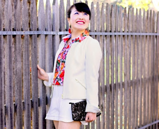 White Jacket, White Shorts, Floral Blouse