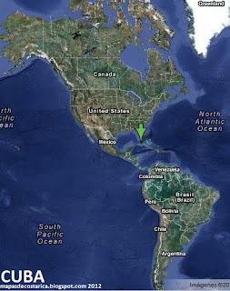 Cuba en America, vista satelital 2012