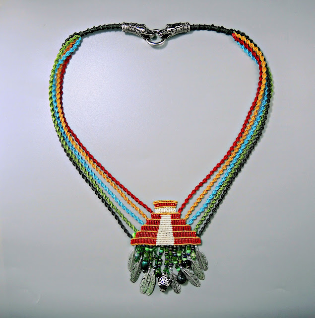 Maya necklace done in micro macrame with beaded fringe.