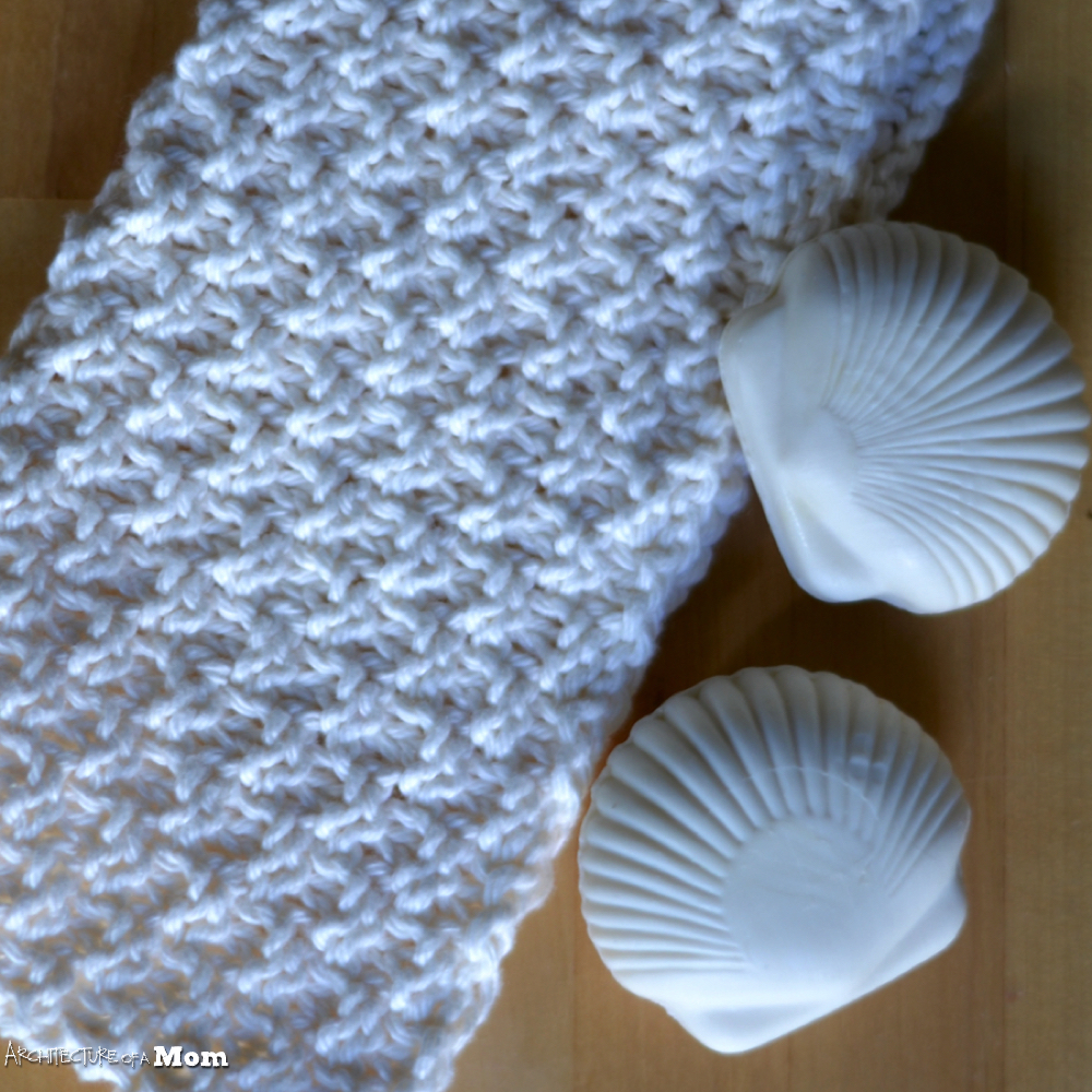 Washcloth Knitting Patterns For Beginners : Architecture of a Mom: Easy Double Moss Stitch Washcloth - Beginner Knit Pattern