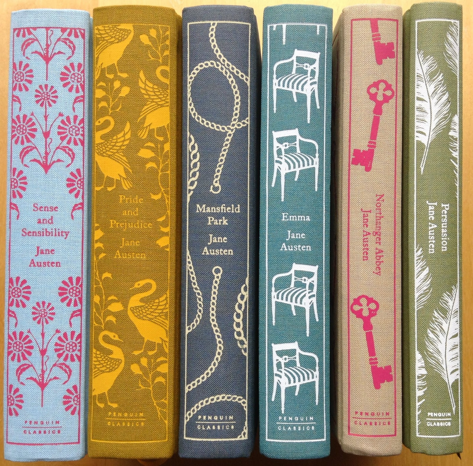 Book Spines - Clothbound Classics by Jane Austen