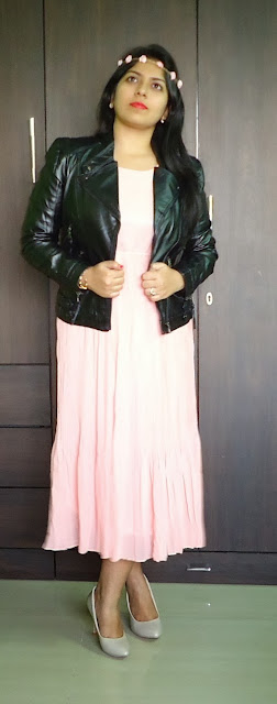OOTD: Coral Pleated Dress, Leather Jacket, how to wear a leather jacket with a maxi dress
