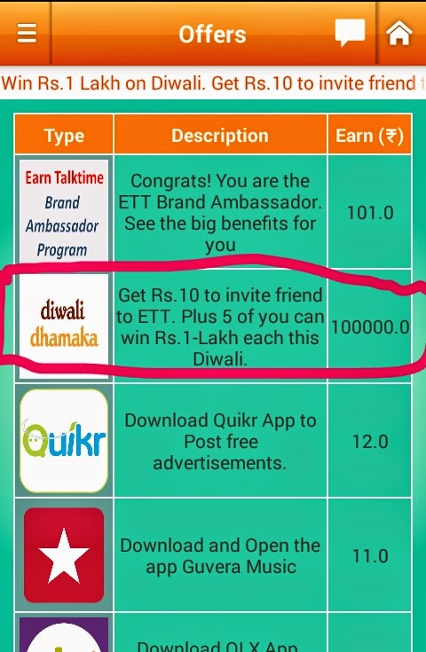 Highest Paying Free Recharge App ETT : Earn Rs 10/ invite and Get a Chance to Win Rs 1 Lakh this Diwali