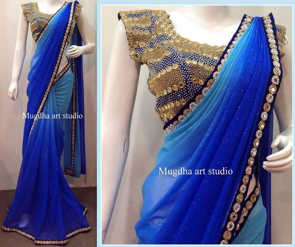 Blue shades mirror work saree saree blouse patterns for Mirror work saree
