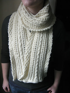 lace and cable scarf knitting pattern