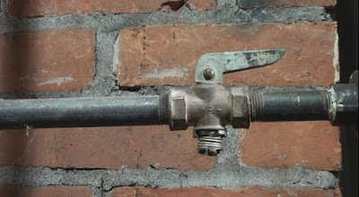 natural gas line valve in open position