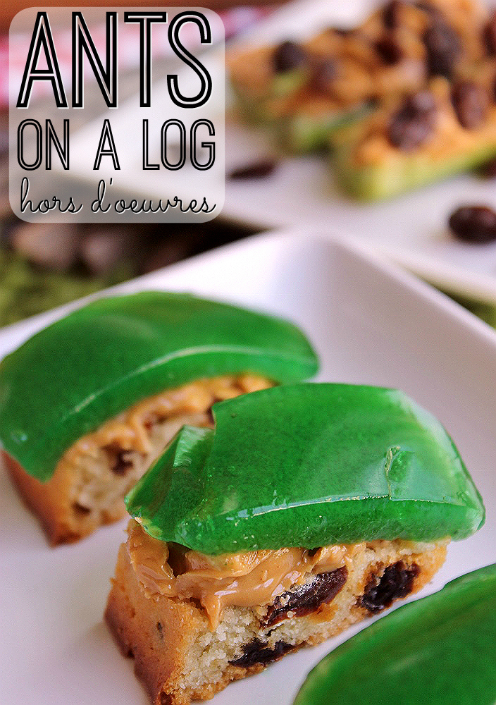 Ants On A Log Hors Doeurves- Raisin Loaf with Simply Ground peanut butter and Celery Gelee. #SpreadTheMagic with new Peter Pan Simply Ground peanut butter- the perfect blend of smooth and a little bit crunchy. (ad)