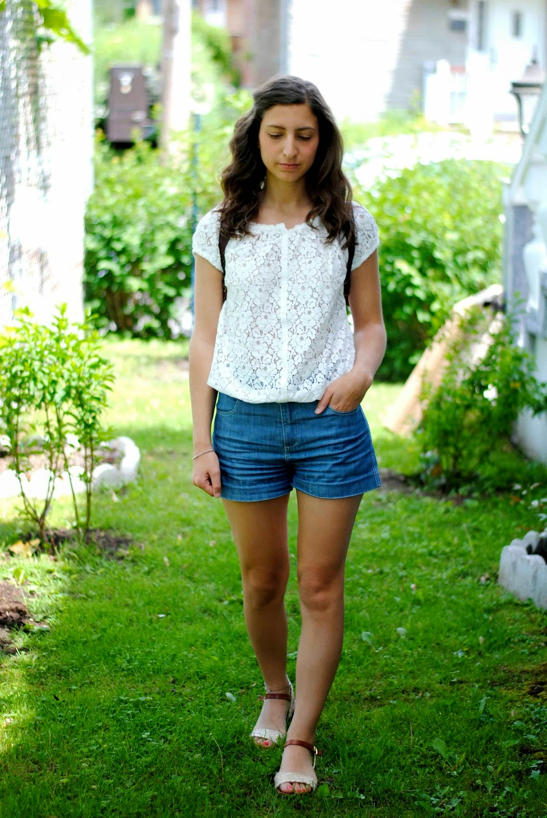 white lace top denim shorts summer sandals