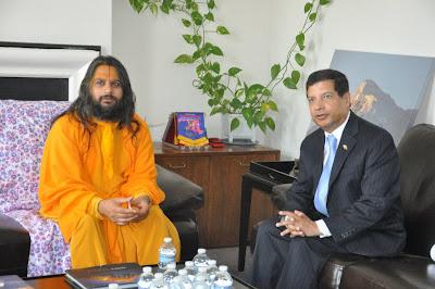 Jagadguru Kripalu ji Maharaj's disciple Swami Haridas Ji at Nepali Embassy USA