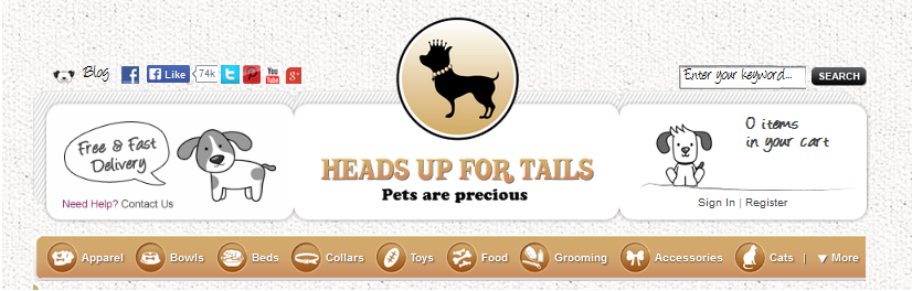 Online shopping portal for dogs: Headsupfortails.com