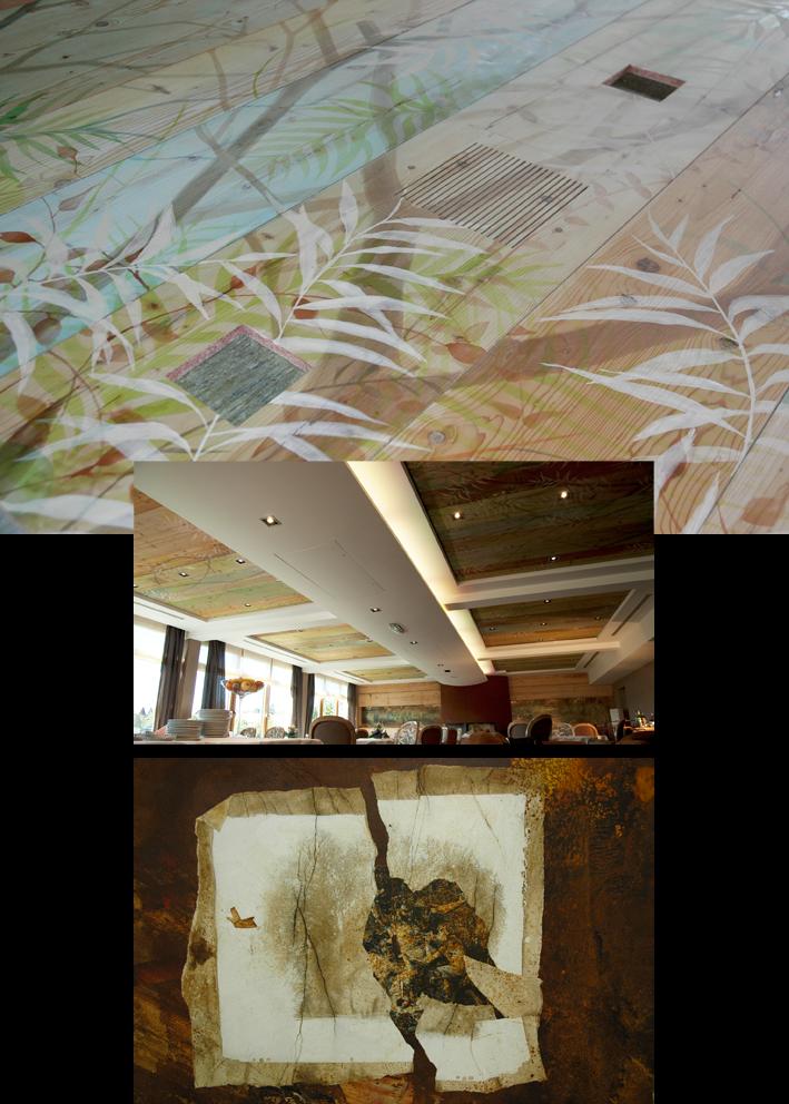 Plafond et fresque de la salle à manger / le Lion d'Or à La Petite Pierre (67)