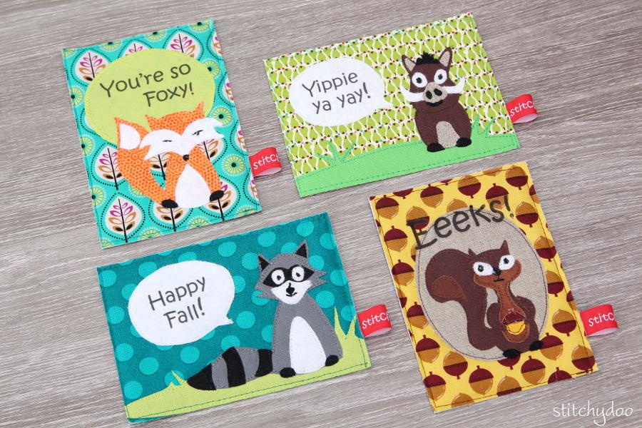 stitchydoo: Stoffkartentausch | Meine genähten Karten im Oktober - Walttiere: Fuchs, Eichhörnchen, Waschbär und Wildschwein Applikationen