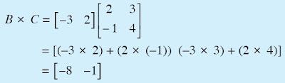Hasil perkalian dari B × C matriks