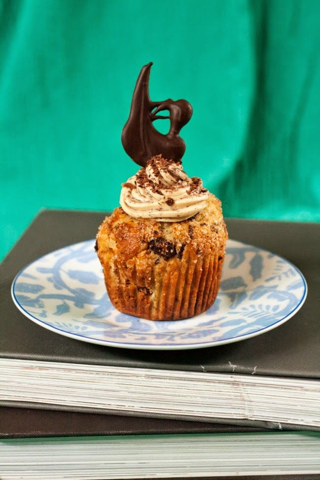 Choc Chunk Muffins with Brown Sugar & Choc Chip Frosting
