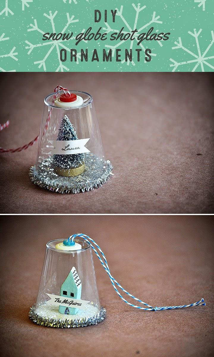 Glass craft ornaments - Crafting Diy Snow Globe Shot Glass Ornaments
