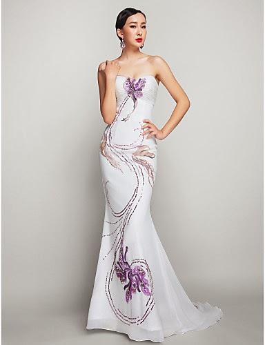 Vestido de Fiesta Blanco Estampado con Flores