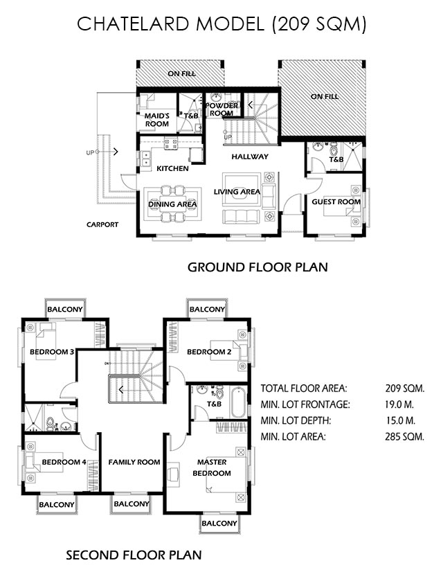 Floor Plan of Chatelard Ready Home - Crosswinds Tagaytay | House and Lot for Sale Tagaytay City