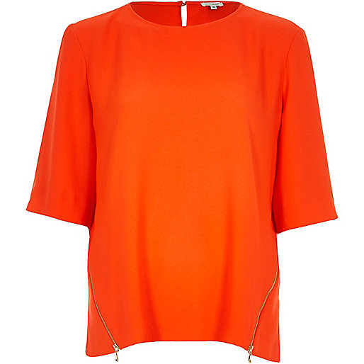orange river island top, orange zip tee,