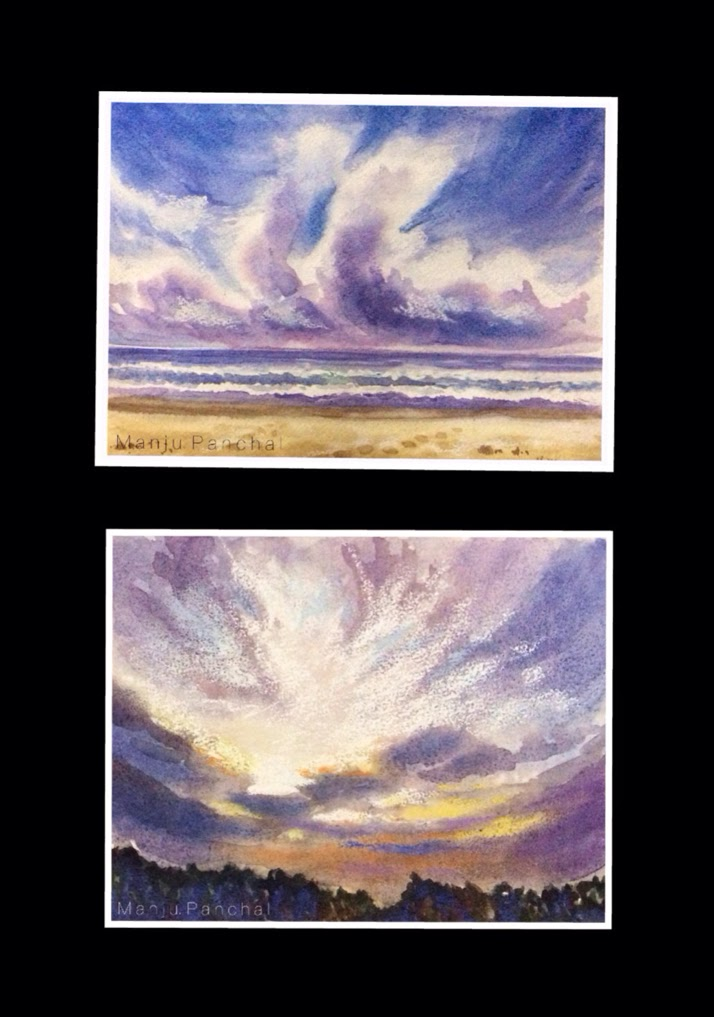 water colour paintings with a touch of soft pastels by Manju Panchal