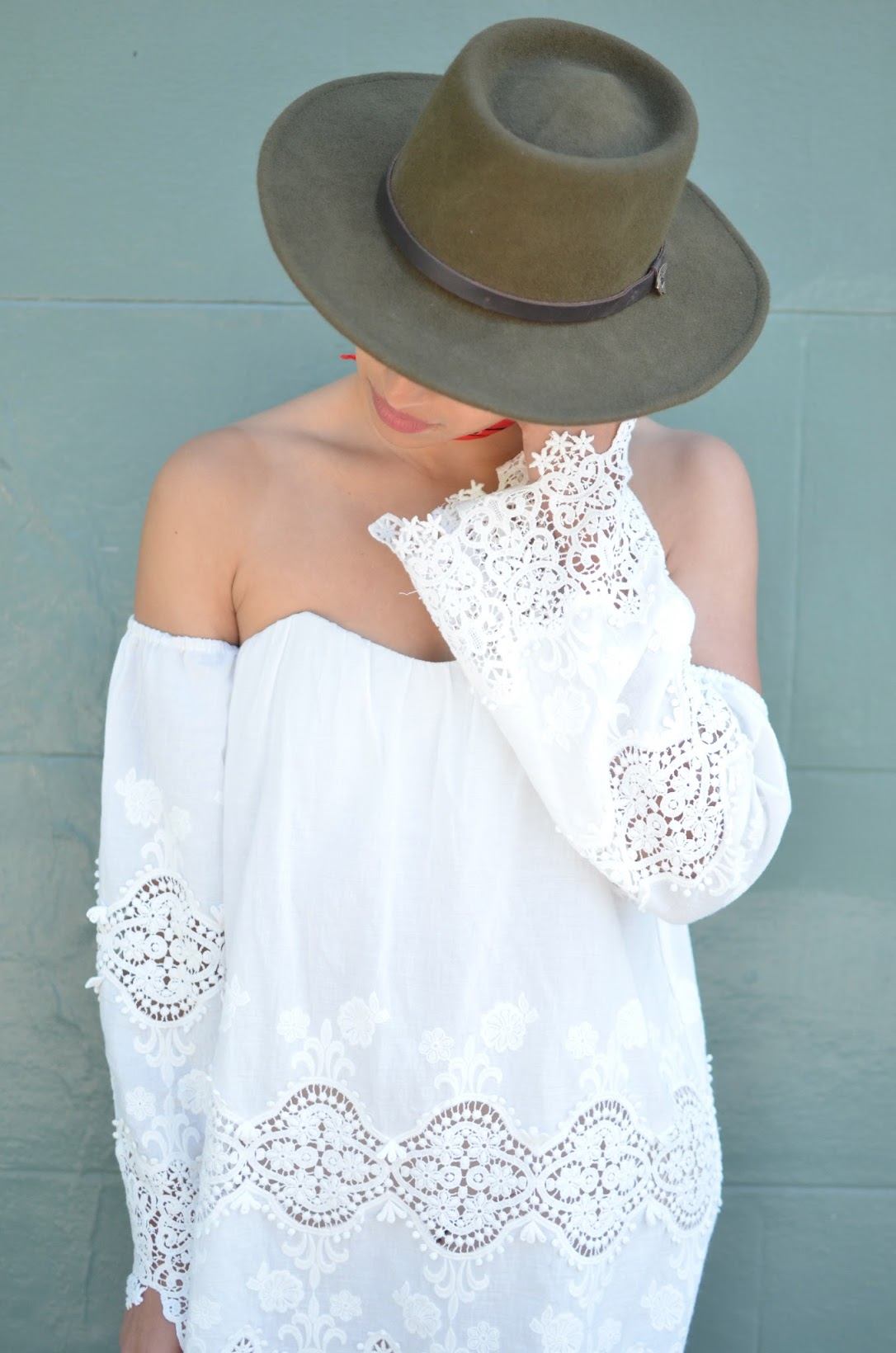Goorin Bros fedora, Grenadier hat, Bordello hat, Gaucho hat, off the shoulder Stone Cold Fox dress, Stone Cold Fox, white dress, LWD, little white dress, gladiator sandals, SF summer style