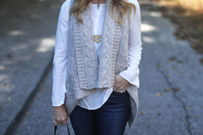 madewell necklace, loft vest