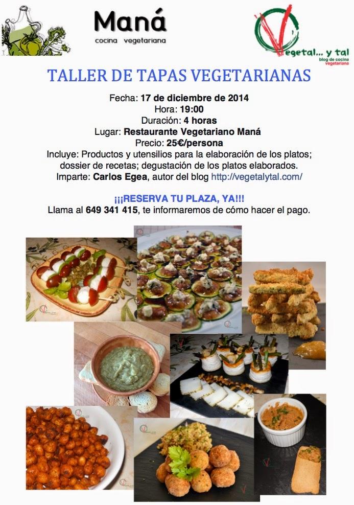 Cartel anunciador del taller de tapas vegetarianas.