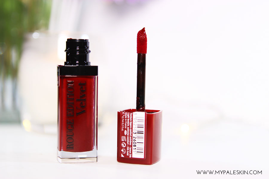 bourjois, rouge edition velvet, lipstick, grand cru, review, swatch, pale skin, my pale skin