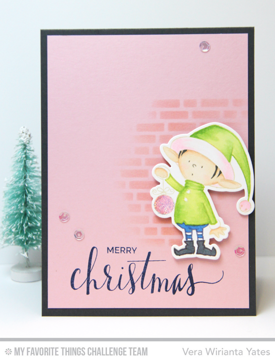 Christmas Elf Card by Vera Wirianta Yates featuring the Birdie Brown Santa's Elves stamp set and Die-namics, Hand Lettered Holiday stamp set, and the English Brick Wall stencil #mftstamps