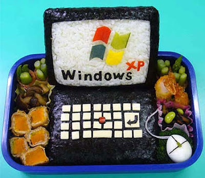 Un plato muy Geek, un Windows XP muy provocativo