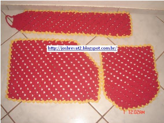 Jogo De Banheiro Amarelo Com Vermelho : Art s josbrevat jogo de banheiro croche