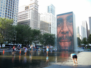 Crown Fountain in Millennium Park in downtown Chicago, Illinois
