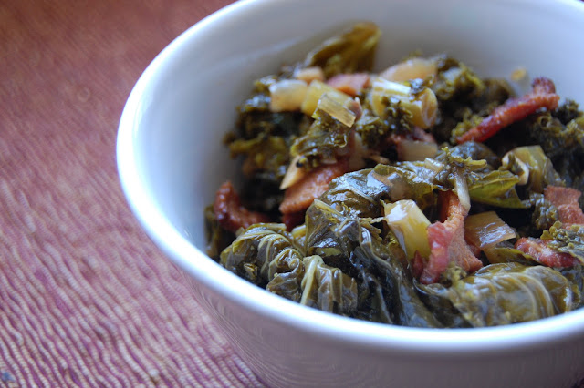 Food.OakMonster.com - Beer braised kale with bacon