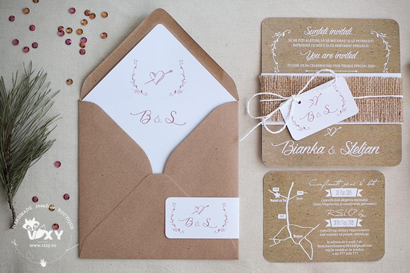 invitatie nunta, invitatie personalizata, vixy.ro, invitatie hartie reciclata, hartie reciclata, plic hartie reciclata, invitatie personalizata nunta, papetarie personalizata, invitatie nunta hartie kraft, invitatie nunta iuta, hartie reciclata si iuta, iuta