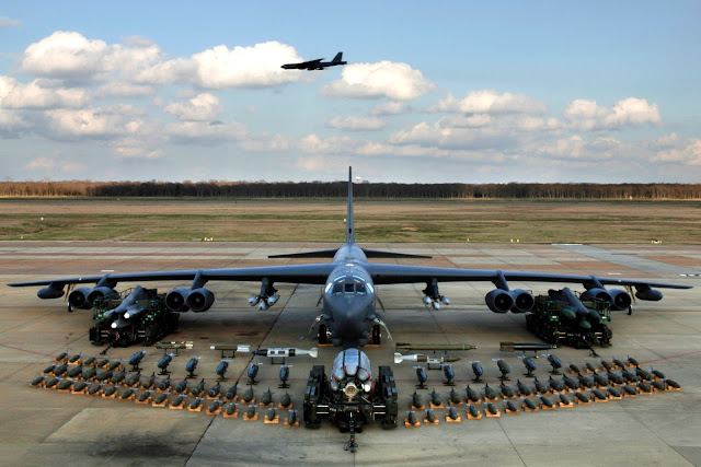 Munitions on display  infront of a B-52 to show the full capabilities of the B-52 Stratofortress.