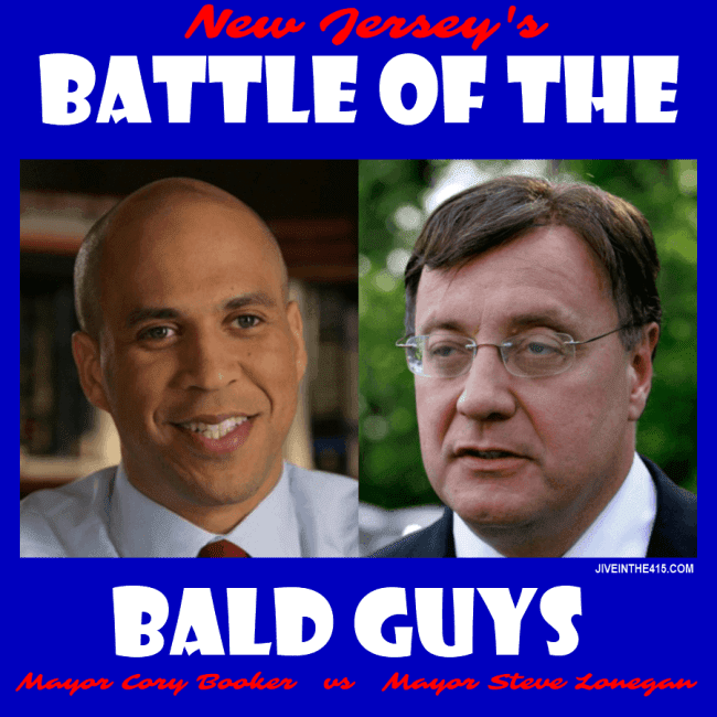 "New Jersey's ""Battle of the Bald Guys"" features Newark Mayor Cory Booker facing off against former Bogota mayor Steve Lonegan, to win a seat in the US Senate."