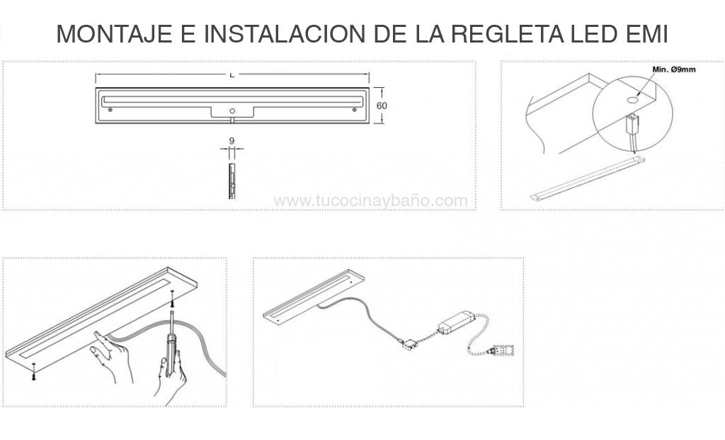esquema montaje led cocina luz armario