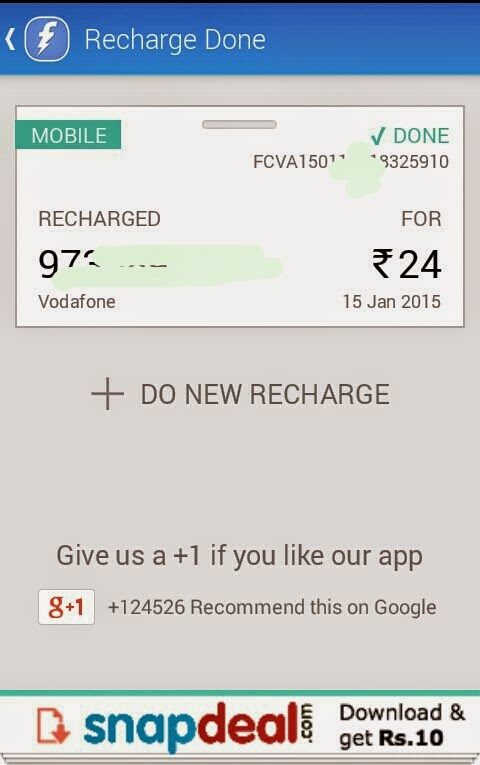 Download Snapdeal app & get Rs 10 Freecharge
