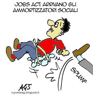 jobsact, lavoro, ammortizzatori sociali, satira vignetta