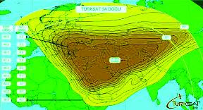 Satellite tv coverage map, ou can receive 23 Tv Channels From Türksat 3A East Beam.