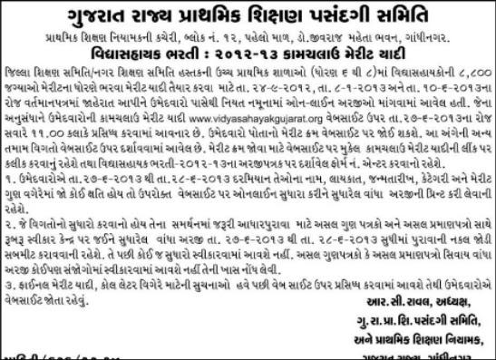 vidhyasahayak final/ provisional merit list 2013
