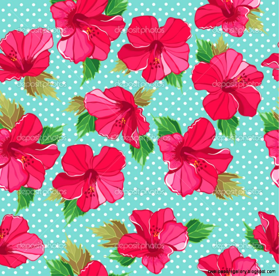 Seamless fl pattern with hibiscus — Stock Vector © Marchi