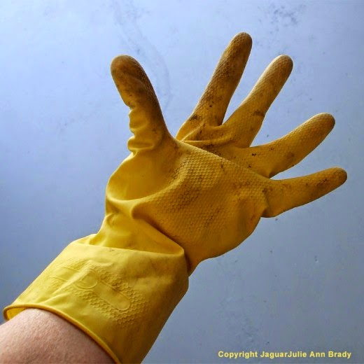 jaguarjulie in Playtex HandSaver gloves in yellow